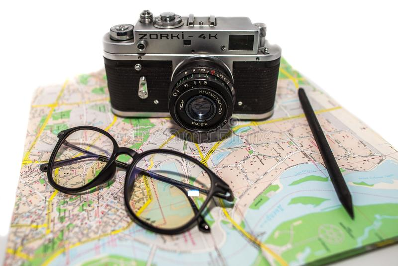 Vintage photo camera on the white background. Retro photo camera close up. royalty free stock image