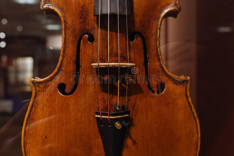 Viola, Andrea Guarneri, Cremona, Italy, 17th century. Moscow, Russia - Dec 13, 2017: The Glinka National Museum - Viola Andrea Guarneri Cremona Italy 17th royalty free stock photography