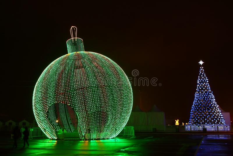 Christmas decorated night city royalty free stock image