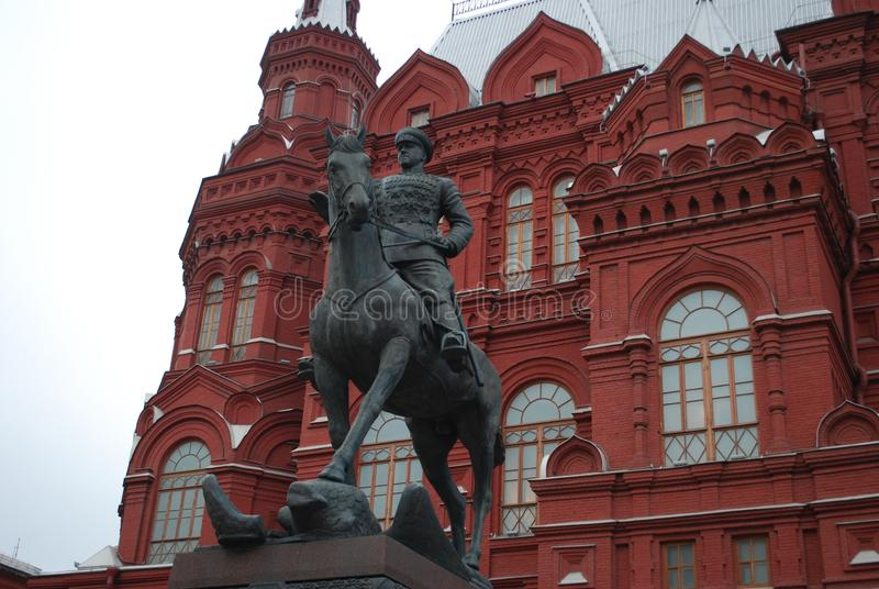 A monument to the marshal of the Soviet Union Georgy Konstantinovich Zhukov on a horse before the Historical museum at Red Square. royalty free stock photography