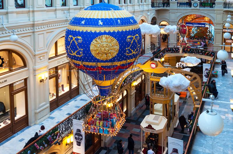 MOSCOW, RUSSIA - DECEMBER 3, 2017: New Year`s and Christmas decoration of the GUM in Moscow, Russia. royalty free stock image