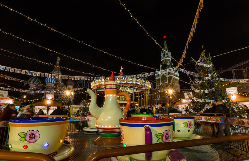 MOSCOW, RUSSIA - DECEMBER 25, 2015: On the red square was the sc royalty free stock images