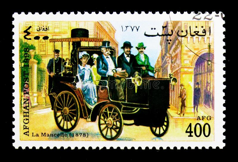 La Mancelle (1878), Vintage Cars serie, circa 1998. MOSCOW, RUSSIA - DECEMBER 21, 2017: A stamp printed in Afghanistan shows La Mancelle (1878), Vintage Cars royalty free stock images