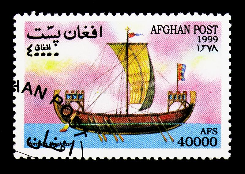 Norman Snekkar, Sailing Ships serie, circa 1999. MOSCOW, RUSSIA - DECEMBER 21, 2017: A stamp printed in Afghanistan shows Norman Snekkar, Sailing Ships serie royalty free stock photography