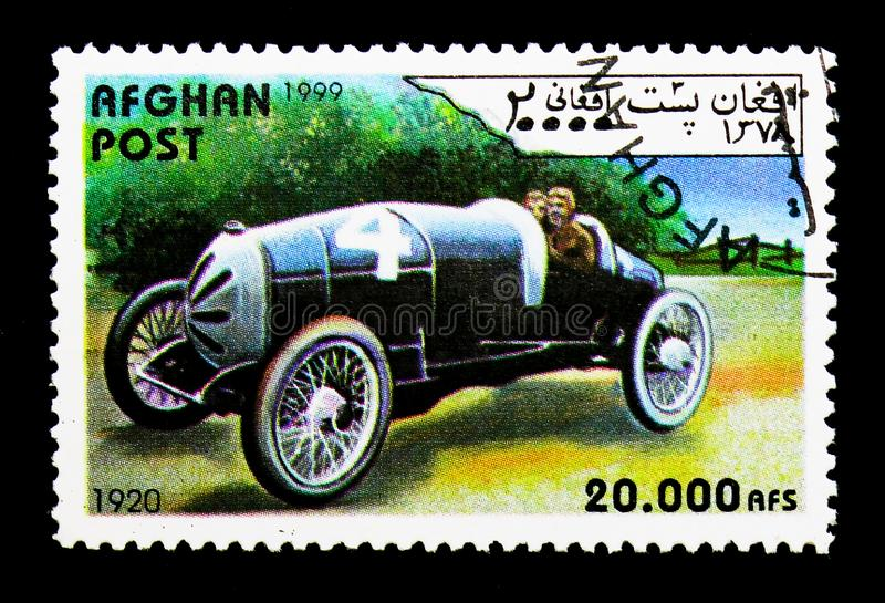 Racing car from 1920, Vintage race cars serie, circa 1999. MOSCOW, RUSSIA - DECEMBER 21, 2017: A stamp printed in Afghanistan shows Racing car from 1920, Vintage royalty free stock photos