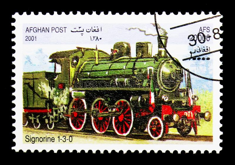 Signorine 1-3-0, Locomotives serie, circa 2001. MOSCOW, RUSSIA - DECEMBER 21, 2017: A stamp printed in Afghanistan shows Signorine 1-3-0, Locomotives serie stock photo