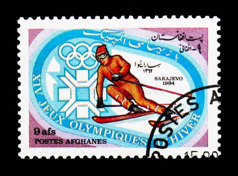 Skiing, Winter Olympics 1984, Sarajevo serie, circa 1984. MOSCOW, RUSSIA - DECEMBER 21, 2017: A stamp printed in Afghanistan shows Skiing, Winter Olympics 1984 stock photography