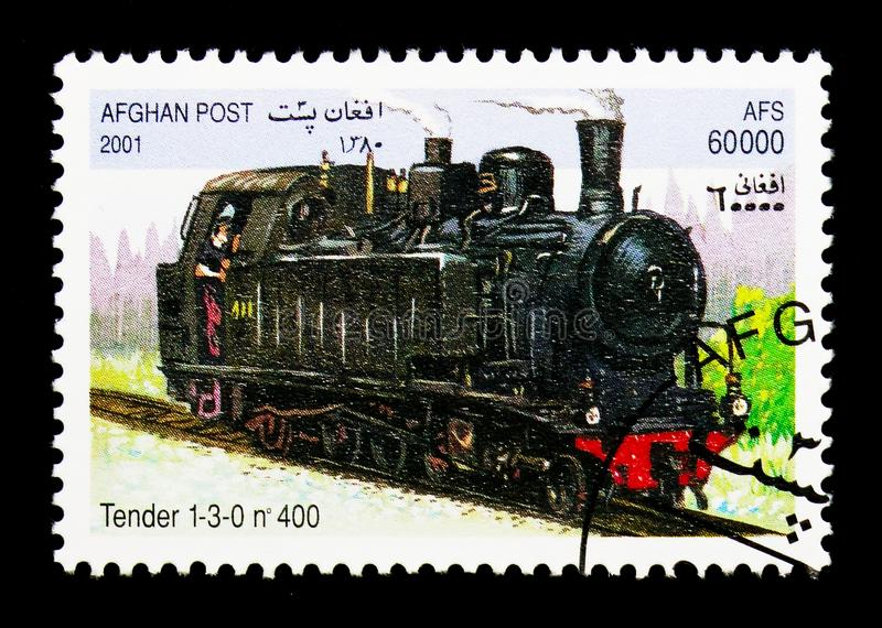 400 Tender 1-3-0, Locomotives serie, circa 2001. MOSCOW, RUSSIA - DECEMBER 21, 2017: A stamp printed in Afghanistan shows 400 Tender 1-3-0, Locomotives serie stock photography