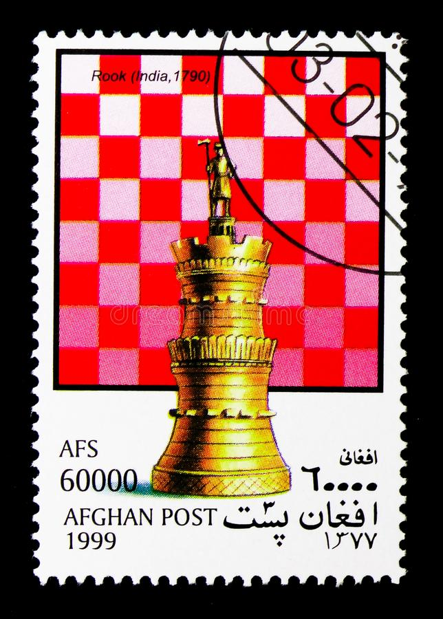 Tower (India), Chess Pieces serie, circa 1999. MOSCOW, RUSSIA - DECEMBER 21, 2017: A stamp printed in Afghanistan shows Tower (India), Chess Pieces serie, circa stock photos