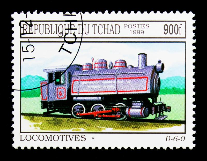 Blue 0-6-0 train, Locomotives serie, circa 1999. MOSCOW, RUSSIA - DECEMBER 21, 2017: A stamp printed in Chad shows Blue 0-6-0 train, Locomotives serie, circa stock image