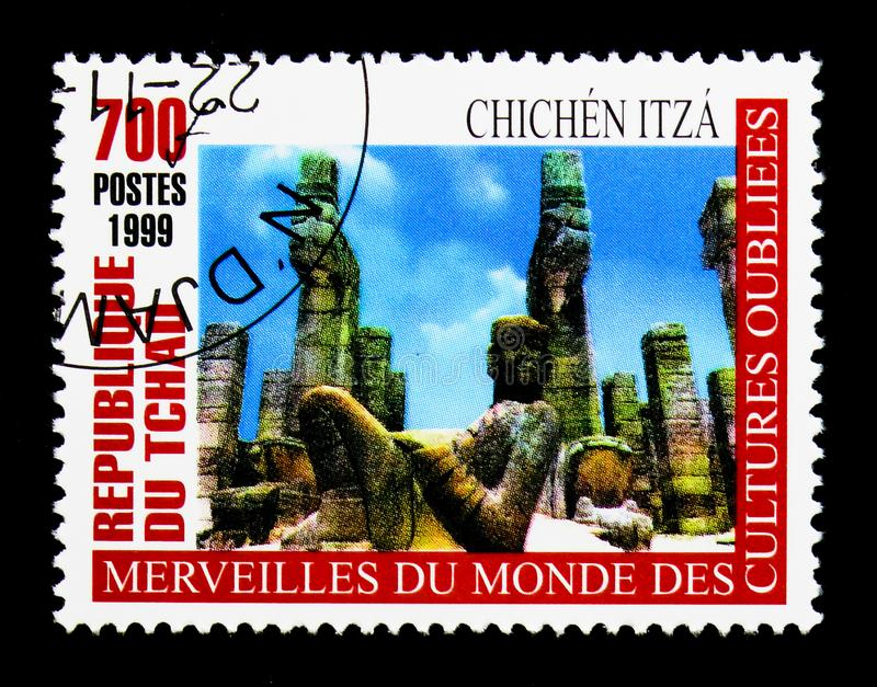 Chichen Itza, Wonders of forgotten Cultures serie, circa 2000. MOSCOW, RUSSIA - DECEMBER 21, 2017: A stamp printed in Chad shows Chichen Itza, Wonders of stock photos