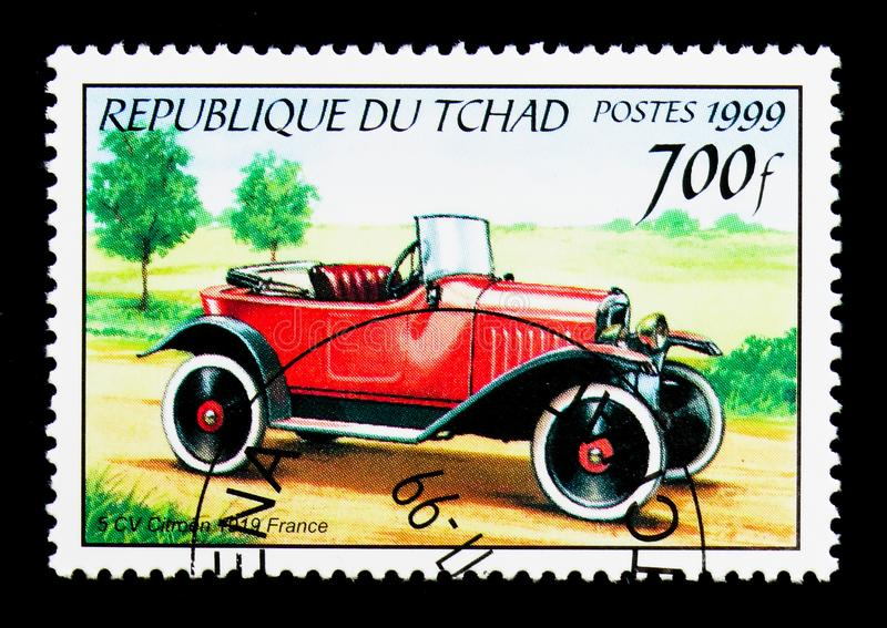 1919 Citroen 5CV, Antique automobiles serie, circa 2000. MOSCOW, RUSSIA - DECEMBER 21, 2017: A stamp printed in Chad shows 1919 Citroen 5CV, Antique automobiles royalty free stock image