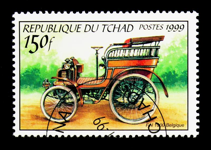 1900 F.n., Antique automobiles serie, circa 2000. MOSCOW, RUSSIA - DECEMBER 21, 2017: A stamp printed in Chad shows 1900 F.n., Antique automobiles serie, circa stock photography