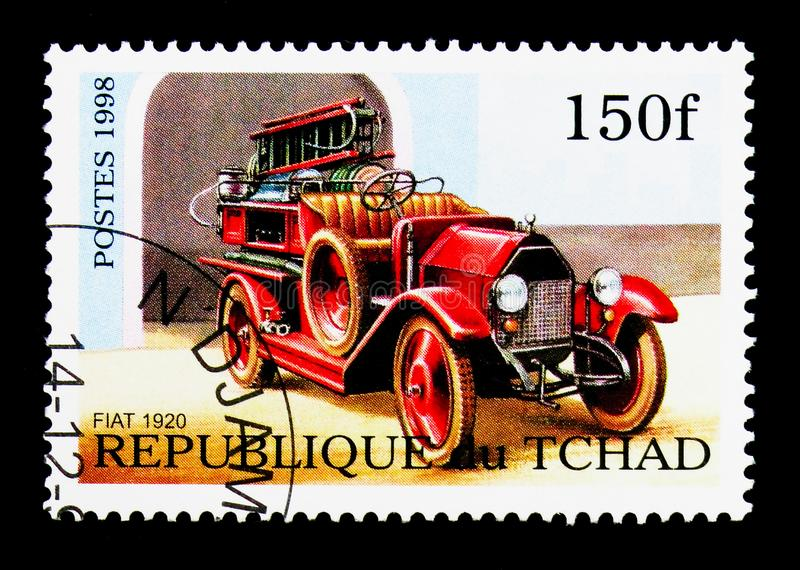 Fiat 501, Fire Trucks serie, circa 1998. MOSCOW, RUSSIA - DECEMBER 21, 2017: A stamp printed in Chad shows Fiat 501, Fire Trucks serie, circa 1998 royalty free stock photo