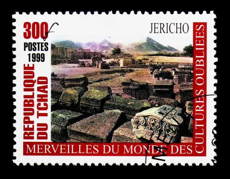 Jericho, Wonders of forgotten Cultures serie, circa 2000. MOSCOW, RUSSIA - DECEMBER 21, 2017: A stamp printed in Chad shows Jericho, Wonders of forgotten royalty free stock photos