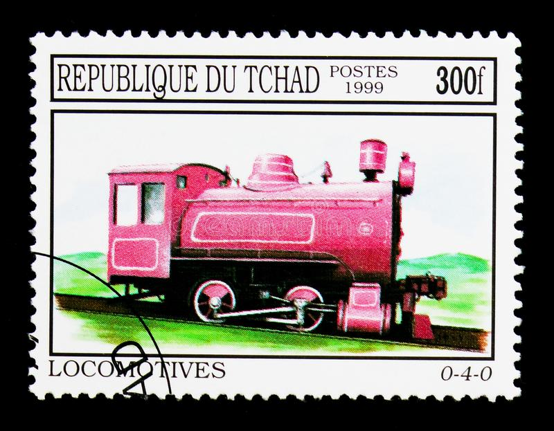 Locomotive 0-4-0, serie, circa 2000. MOSCOW, RUSSIA - DECEMBER 21, 2017: A stamp printed in Chad shows Locomotive 0-4-0, serie, circa 2000 royalty free stock photo