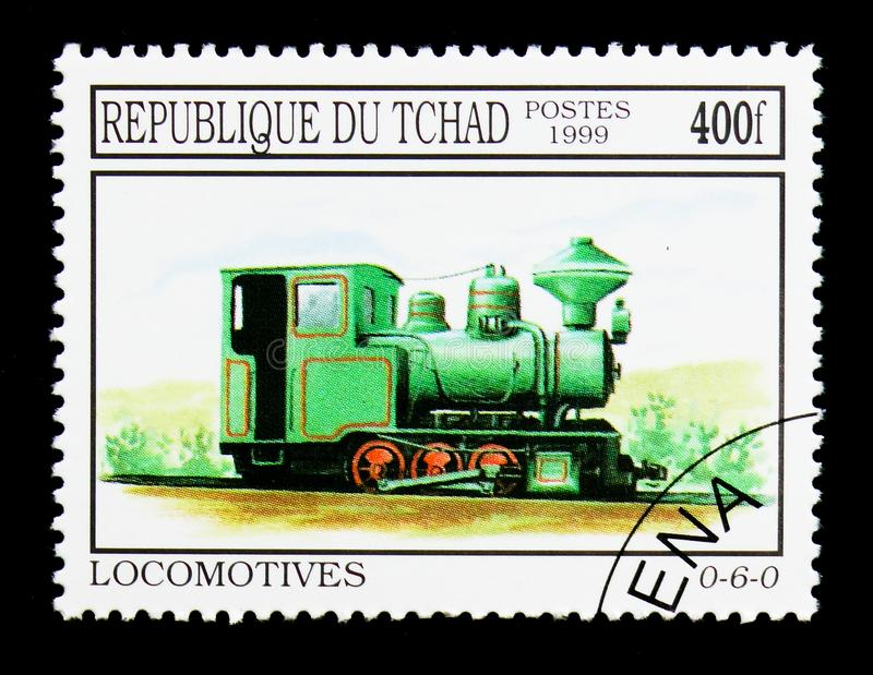 Locomotive 0-6-0, serie, circa 1999. MOSCOW, RUSSIA - DECEMBER 21, 2017: A stamp printed in Chad shows Locomotive 0-6-0, serie, circa 1999 royalty free stock images