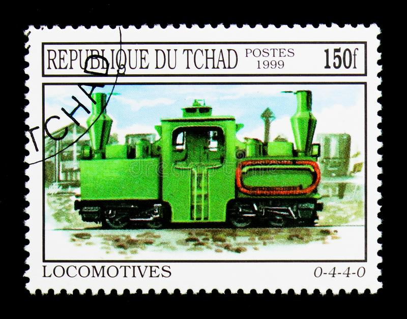 Locomotive 0-4-4-0, serie, circa 2000. MOSCOW, RUSSIA - DECEMBER 21, 2017: A stamp printed in Chad shows Locomotive 0-4-4-0, serie, circa 2000 stock photos