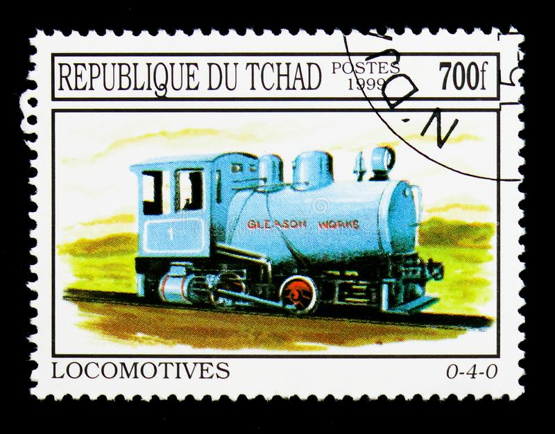 Locomotive 0-4-0, serie, circa 2000. MOSCOW, RUSSIA - DECEMBER 21, 2017: A stamp printed in Chad shows Locomotive 0-4-0, serie, circa 2000 stock photos
