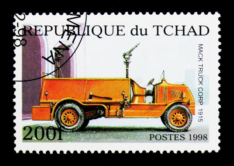 Mack Truck Corp. 1915, Fire Trucks serie, circa 1998. MOSCOW, RUSSIA - DECEMBER 21, 2017: A stamp printed in Chad shows Mack Truck Corp. 1915, Fire Trucks serie royalty free stock images