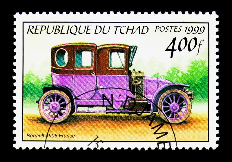 1906 Renault, Antique automobiles serie, circa 2000. MOSCOW, RUSSIA - DECEMBER 21, 2017: A stamp printed in Chad shows 1906 Renault, Antique automobiles serie royalty free stock photo