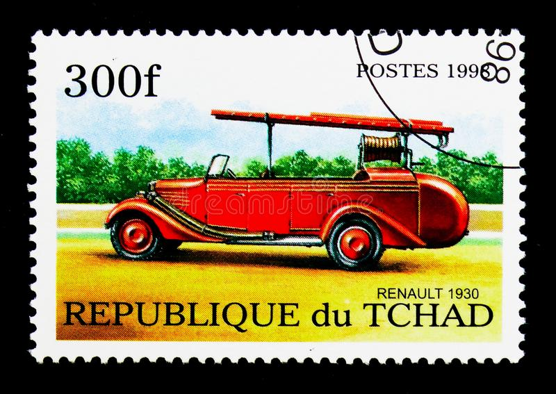 Renault (1930), Fire Trucks serie, circa 1998. MOSCOW, RUSSIA - DECEMBER 21, 2017: A stamp printed in Chad shows Renault (1930), Fire Trucks serie, circa 1998 stock images