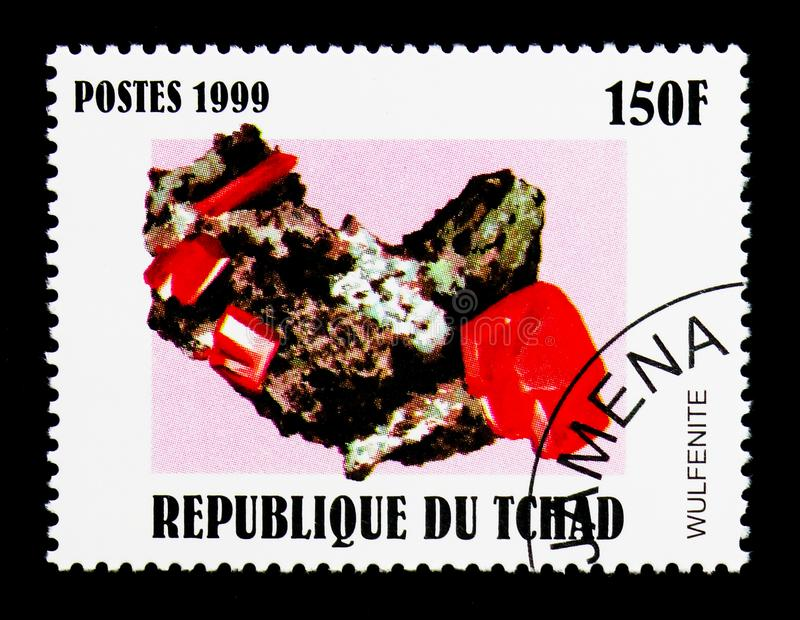 Wulfenite, Minerals serie, circa 2000. MOSCOW, RUSSIA - DECEMBER 21, 2017: A stamp printed in Chad shows Wulfenite, Minerals serie, circa 2000 stock images