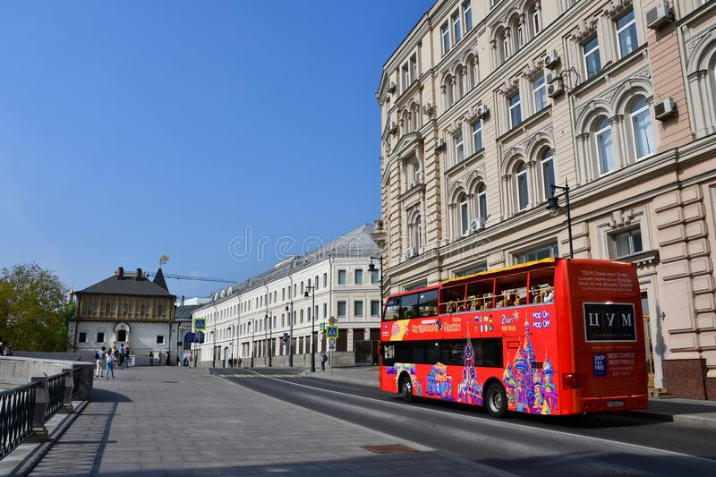Moscow, Russia, September, 01, 2018. Double-Decker tour bus City Sihgtseeng going down the street Varvarka in sunny day, Moscow stock photos
