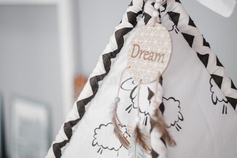 Moscow, Russia - 06 10 2018: dream catcher in the kids room, children's wigwam, home decor, cozy room stock photos