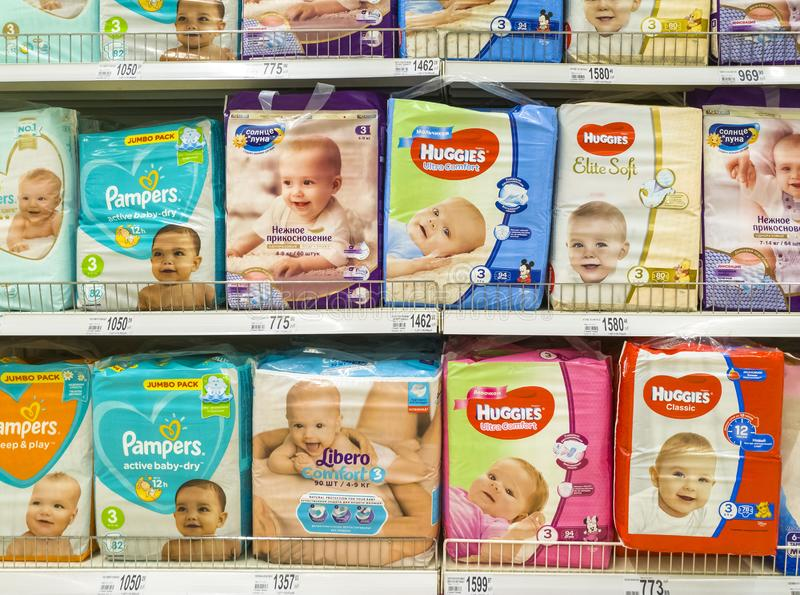 Moscow, Russia - Feb 12. 2019. diapers for children in large store network Auchan royalty free stock photography