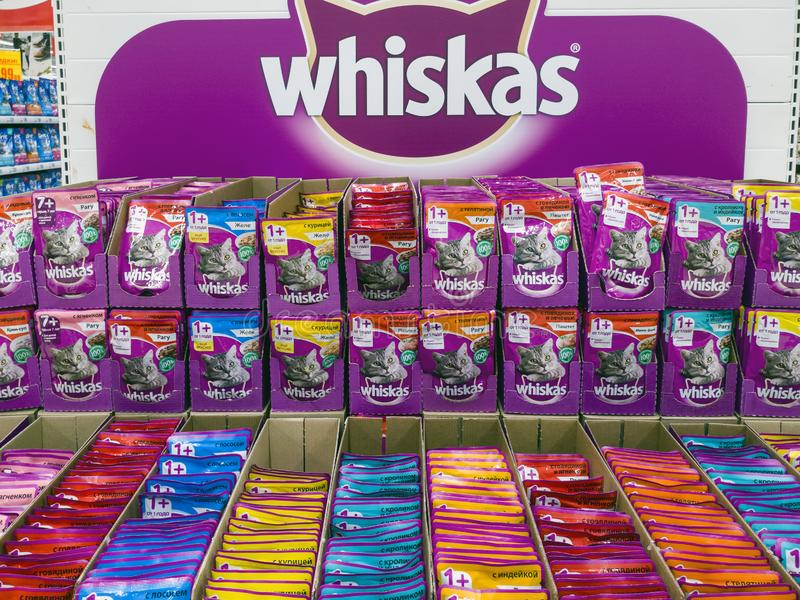 Moscow, Russia - Feb 12.2019. Whiskas cat food in Auchan store stock photo
