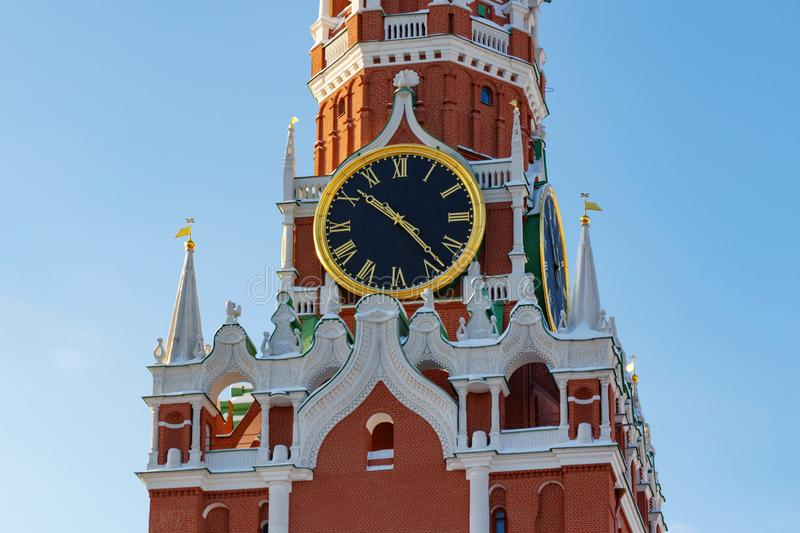 Moscow, Russia - February 01, 2018: Chimes of the Spasskaya Tower of Moscow Kremlin closeup. Moscow Kremlin in winter royalty free stock photo