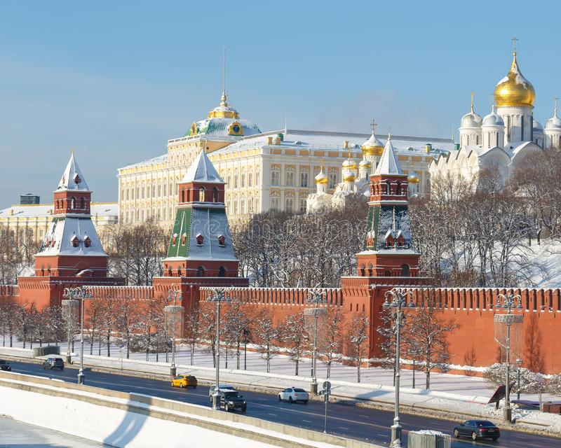 Embankment of the Moscow river, view of the Kremlin wall, towers and churches on the territory of the Moscow Kremlin in winter, on. MOSCOW, RUSSIA, FEBRUARY 01 stock photography