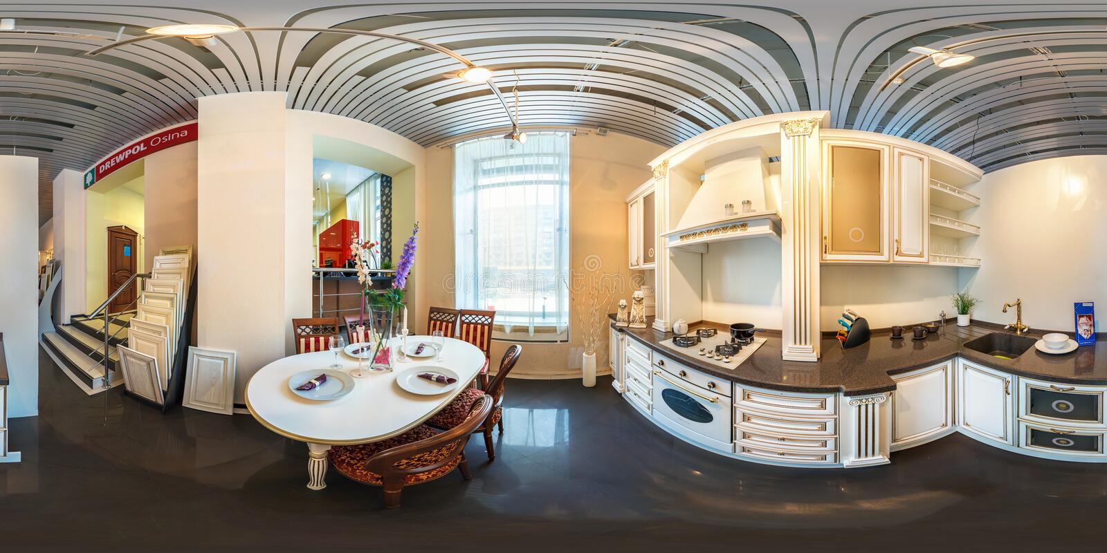 MOSCOW, RUSSIA - FEBRUARY 19, 2013: Full spherical 360 degrees seamless panorama in equirectangular equidistant projection,. Panorama in interior modern kitchen stock photo