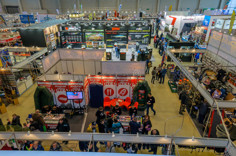 Moscow, Russia - February 25, 2017: Panoramic top view of the exhibition pavilion Hunting and fishing in Russia, VDNKh royalty free stock images