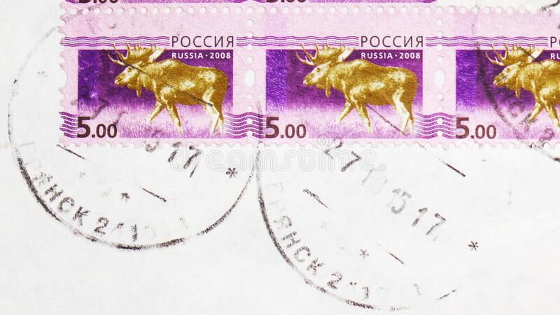 Postage stamp printed in Russia with stamp of Bryansk town Post office shows Moose Alces alces, 5th Definitive Issue of Russian. MOSCOW, RUSSIA - FEBRUARY 20 stock image