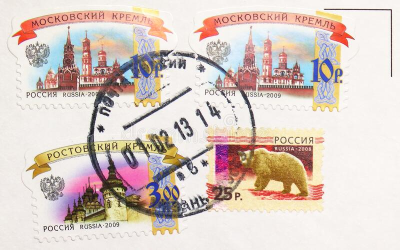 Postage stamp printed in Russia with stamp of Ryazan town Post office shows Moscow Kremlin and Rostov Kremlin, serie, circa 2009 royalty free stock photography