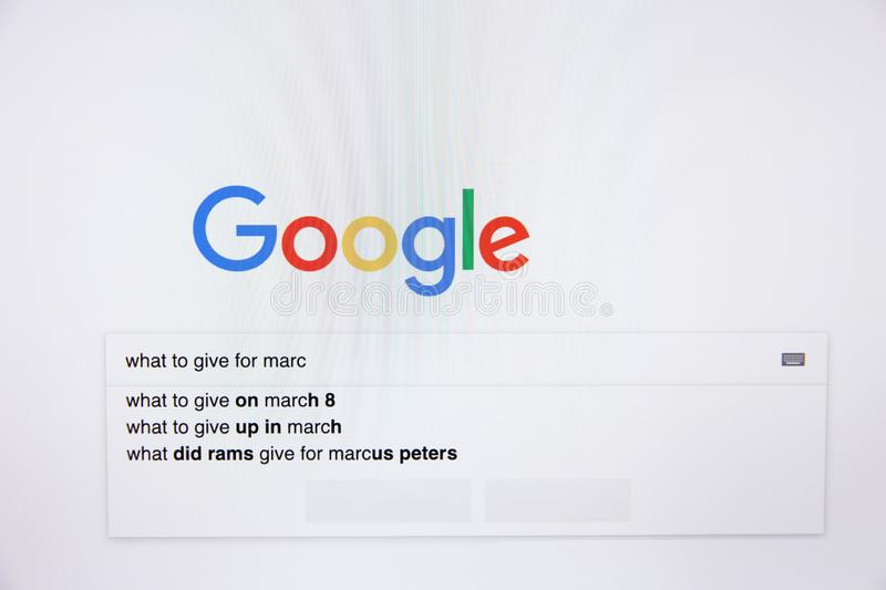 Moscow / Russia - February 20, 2019: Search in Google what to give for March 8. stock image