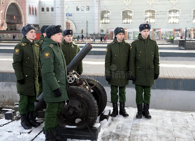 Soldiers of the Separate Commandant`s Preobrazhensky Regiment from a hand-made mortar installation captured from Syrian terrorists. MOSCOW, RUSSIA - FEBRUARY 23 royalty free stock photography