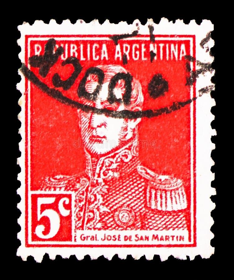 Jose Francisco de San Martin, General San Martin serie, circa 1917. MOSCOW, RUSSIA - FEBRUARY 10, 2019: A stamp printed in Argentina shows Jose Francisco de San stock photography