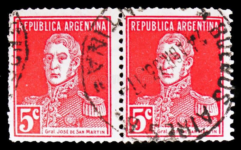 Jose Francisco de San Martin, General San Martin serie, circa 1917. MOSCOW, RUSSIA - FEBRUARY 10, 2019: A stamp printed in Argentina shows Jose Francisco de San stock photo