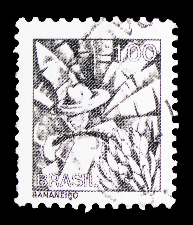 Banana Gatherer, Profession series serie, circa 1979. MOSCOW, RUSSIA - FEBRUARY 10, 2019: A stamp printed in Brazil shows Banana Gatherer, Profession series royalty free stock images
