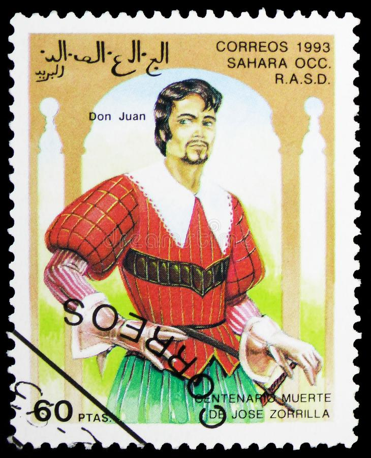 Centenarios death of Jose Zorrilla; Don Juan, Sahara Occ. serie, circa 1993. MOSCOW, RUSSIA - FEBRUARY 10, 2019: A stamp printed in Cinderellas shows Centenarios stock photography