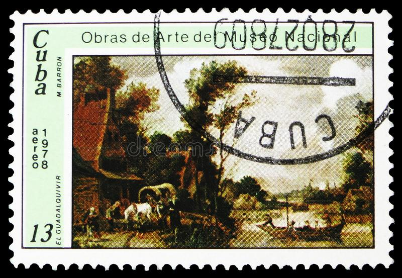 Manuel Barron y Carrillo, `El Guadalquivir`, Paintings from the National Museum serie, circa 1978. MOSCOW, RUSSIA - FEBRUARY 22, 2019: A stamp printed in Cuba royalty free stock photos