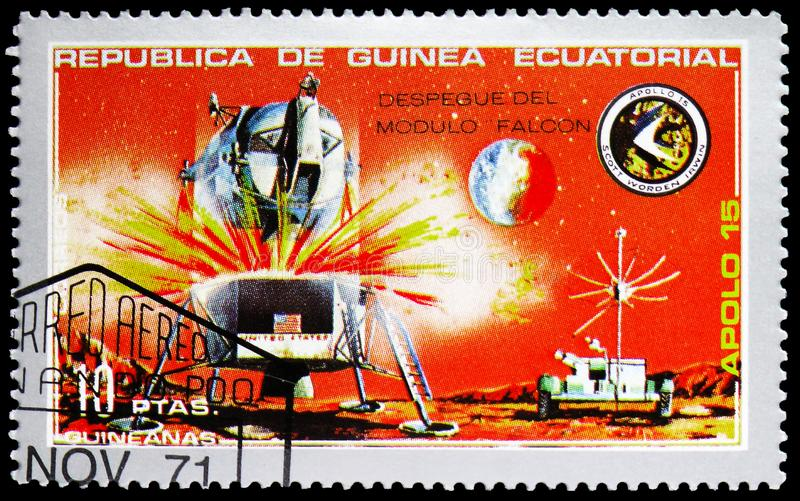 Lander, Apollo 15 serie, circa 1972. MOSCOW, RUSSIA - FEBRUARY 10, 2019: A stamp printed in Equatorial Guinea shows Lander, Apollo 15 serie, circa 1972 stock photo