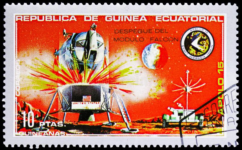 Lander, Apollo 15 serie, circa 1972. MOSCOW, RUSSIA - FEBRUARY 10, 2019: A stamp printed in Equatorial Guinea shows Lander, Apollo 15 serie, circa 1972 royalty free stock image