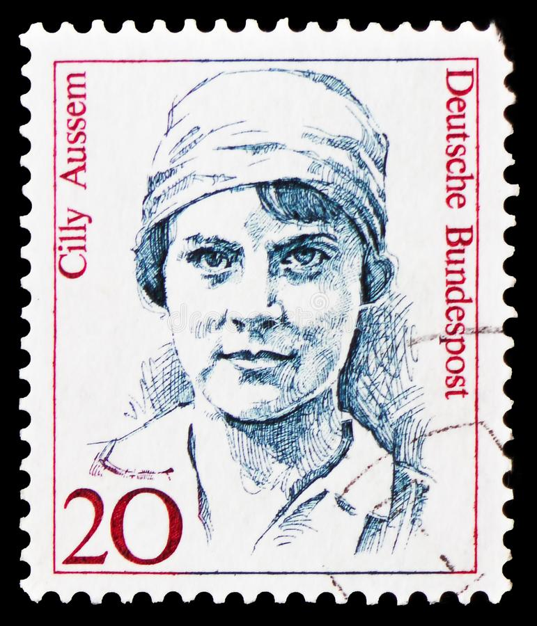 Cilly Aussem (1909-1963), tennis player, Women in German History serie, circa 1988. MOSCOW, RUSSIA - FEBRUARY 20, 2019: A stamp printed in Germany, Federal stock photo