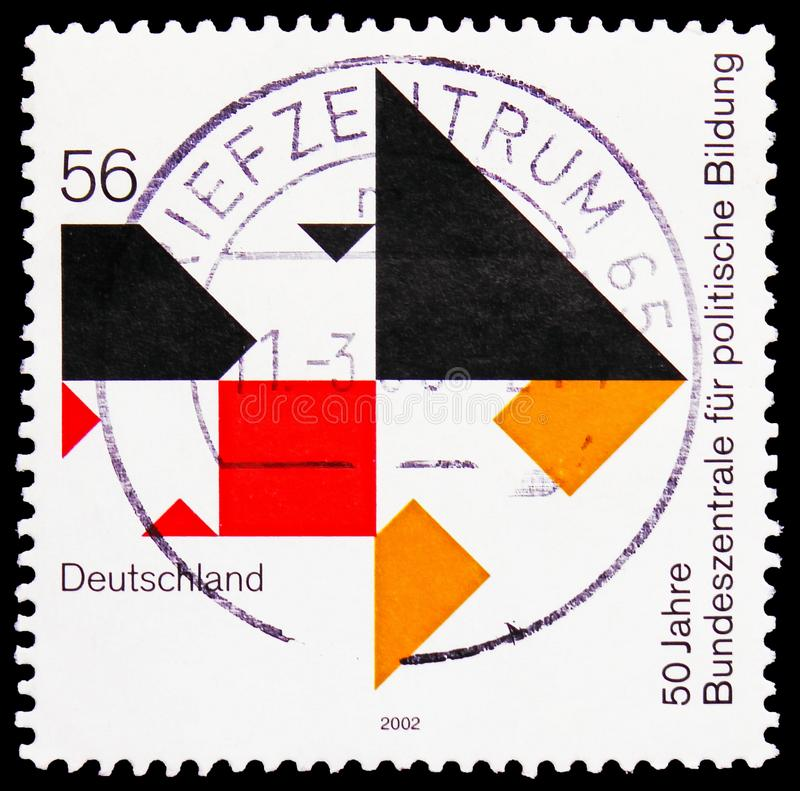 Political education, 50th Anniversary of Federal Agency for Civic Education serie, circa 2002. MOSCOW, RUSSIA - FEBRUARY 21, 2019: A stamp printed in Germany stock photo