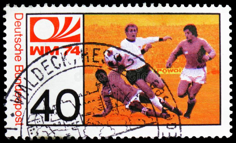 World Cup Football, serie, circa 1974. MOSCOW, RUSSIA - FEBRUARY 21, 2019: A stamp printed in Germany, Federal Republic shows World Cup Football, serie, circa royalty free stock photos