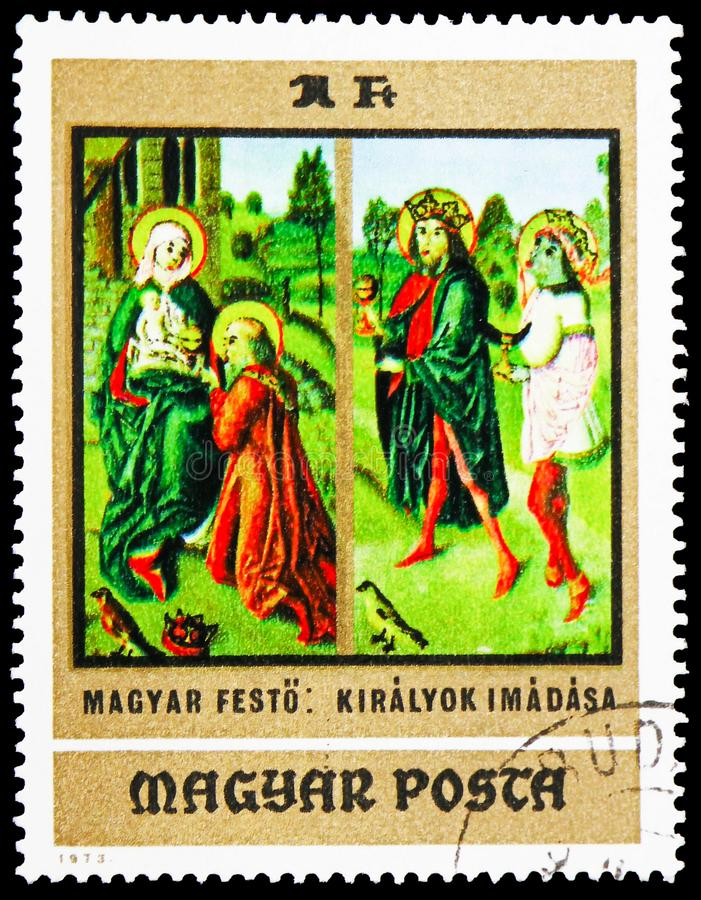 Adoration of the Kings, Paintings from Christian Museum, Esztergom serie, circa 1973. MOSCOW, RUSSIA - FEBRUARY 22, 2019: A stamp printed in Hungary shows stock image